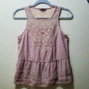 American Eagle Lace Embroidered Tank Top Size S